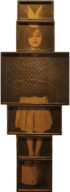 "Judith Kindler-  Crowned Girl, 2012, Mixed Media on 6 panels, 72"" X 25"