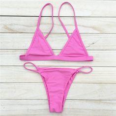 1a456b9d8a 2016 Sexy Women Swimsuit Micro Bikini Set Pink Brazilian Bikini Swimwear
