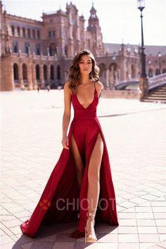 Chicloth Deep V-Neck Burgundy Satin Long Prom Dresses Long Prom Dresses Uk, Modest Dresses, Homecoming Dresses, Sexy Dresses, Evening Dresses, Fashion Dresses, Pageant Dresses, Fashion Hair, Trendy Dresses