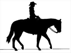 Cowboy on horse silhouette - free clipart graphic