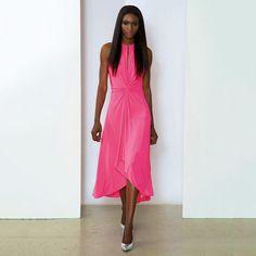 Gathered Cutout Dress Neon Pink