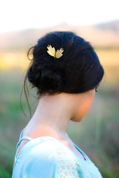 Leaf Bobby Pins Gold Stylized Arts & Crafts Style Leaf Hair  Pins Woodland  Gold Brass Hair Pins Leaves