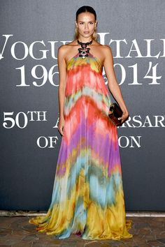 Natasha Poly wore a dress from Emilio Pucci's spring/summer 2015 collection to the Vogue Italia 50th Anniversary Party.