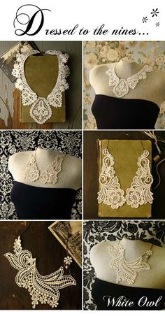 lace jewelry by White Owl on Etsy