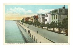 East Battery, Charleston, SC Postmarked March It looks the same in I Miss Charleston. South Carolina Art, Charleston South Carolina, Charleston Sc, Rainbow Row Charleston, Travel And Leisure, Places Ive Been, Beautiful Places, Street View, Art Prints