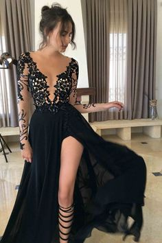 Black Long Sleeves Split Sexy See Through V Neck Long Prom Dresses, PM0133