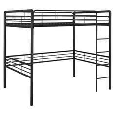 Open up space in any room with this Metal Full size Loft Bed and please everyone with its contemporary metal design that matches any bedroom decor. Decorate the space under the bunk bed to suit your n Loft Bed Frame, Full Bed Frame, Bed Frames, Dining Room Furniture, Furniture Decor, Black Furniture, Bunk Beds For Boys Room, Loft Beds, Boy Room