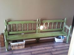 cute idea.  This was made out of an old bunk bed.  You know those ones that you see all the time at DI, well now you have a cute bench. Love the color!