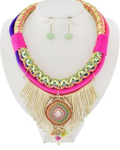 Gold Tone / Neon Multi Color Cord & Acrylic / Lead&nickel Compliant / Metal / Fish Hook (earrings) / Graduating / / Necklace & Earring Set(item Is Brighter Than Picture)