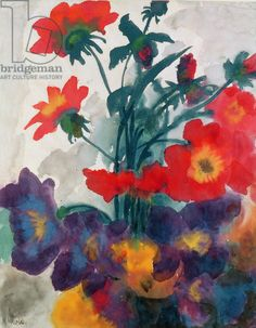 Mixed Flowers (w/c on paper) / Emil Nolde