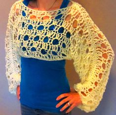 Crochet Pattern Shrug Sweater Cropped Sweater Shrug