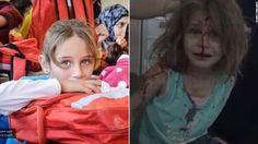 フェイスブック上に掲載された空爆前後のアヤさんの写真