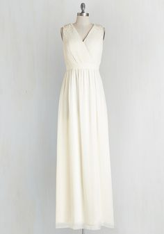 Sweeten the Occasion Dress by Chi Chi London - Cream, Solid, Pearls, Special Occasion, Prom, Wedding, Bride, Homecoming, Maxi, Sleeveless, Woven, Better, V Neck, Rhinestones, Long