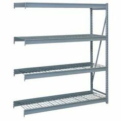 "Bulk Storage Rack Add-On, 4 Tier, Wire Decking, 96""Wx24""Dx96""H Gray by LYON WORKSPACE PRODUCTS. $540.00. Bulk Storage Rack Add-On, 4 Tier, Wire Decking, 96""Wx24""Dx96""H Gray Heavy gauge steel uprights and beams. Adjustable on 1-1/2"" centers. 1650-3300 lbs. capacity per pair of beams. Weight Capacity based on evenly distributed load. 10,000 lbs. per upright assembly."