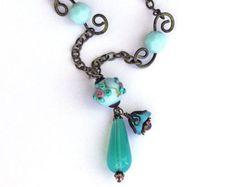 Vintage Lampwork Bead Hand Forged Brass Necklace Victorian Swarovski Crystals OOAK