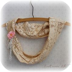 Tea Stained Infinity Scarf made from Vintage by auntcarriesattic