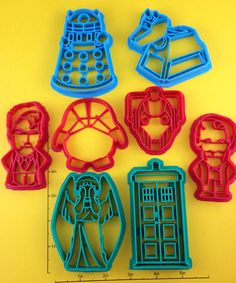 Doctor Who Cookie Cutter set of 8 by WarpZone on Etsy, $48.00- too expensive for cookie cutters, but I still want them...