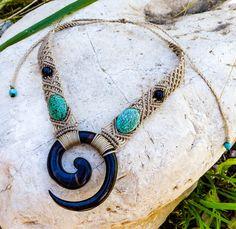 Tribal macrame necklace, Turquoise macrame, wooden spiral necklace, macrame jewelry, Spiral, natural stones, Boho, Gypsy, Tribal, gift