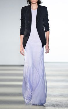 Tulle Chiffon Racer Back Gown by Wes Gordon for Preorder on Moda Operandi