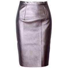 Plain PU Leather Slit Pencil Midi Skirt (530 CZK) ❤ liked on Polyvore featuring skirts, purple midi skirt, slit midi skirt, purple pencil skirt, midi pencil skirt and mid-calf skirt