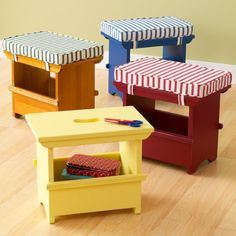 Kids Primary Stripe Mini Wooden Storage Bench and Cushions - Bench (Blue) 16 x 10