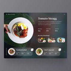interface design Menu Of The Day User Interface Concept Ux Design, Game Design, Food Web Design, Design Ideas, Ios Design Guidelines, Dessert Restaurant, Maquette Site Web, Restaurant Website Design, Concept Web