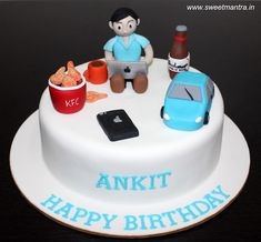 Birthday cake for husband men fondant Ideas Birthday Cakes For Men, Car Cakes For Men, Birthday Cake For Husband, Novelty Birthday Cakes, Cake Birthday, Husband Cake, 8th Birthday, Birthday Ideas, Cakes To Make