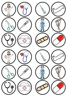 24 Nurses Doctors Theme Precut Edible Cupcake Toppers - wafer card disc cake decorations Stand Up Doctor Party, Community Helpers Preschool, Edible Cupcake Toppers, Paper Cupcake, Wafer Paper, Nurses Week, Dramatic Play, Diy Birthday, Birthday Gifts