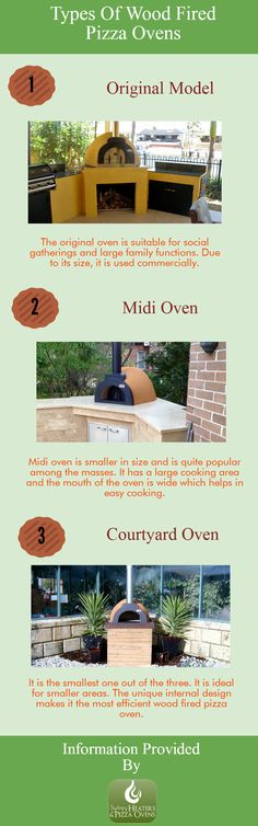 There is a wide range of wood fired pizza ovens available in the market. And, every type has its own features. Here's an infographic, discussing three major types of  wood fired pizza ovens. Have a look, to know about it in detail and choose the best according to your need.