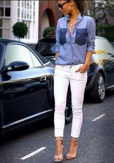 Denim - skinny white jeans and heels
