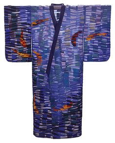 Koi Kimono by Tim Harding: Fiber Wall Art available at www.artfulhome.com. Highly textured fiber wall piece made in a multi-layered, reverse applique technique of iridescent, lustrous, hand-loomed Indian silks on a sheer, silk organza lining. Signed inside.