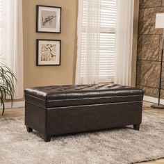 USA Classic Waxed Texture Tufted Storage Bench