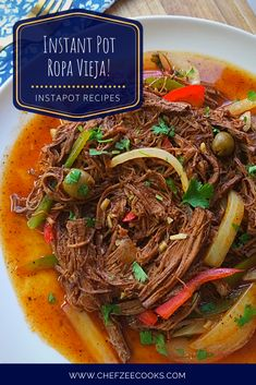 Instant Pot Ropa Vieja is simply down right delicious and easy to make! This shredded beef recipe is great for taco night and family dinners. Enjoy this authentic Cuban Recipe with friends and family and it won't disappoint! Best of all, this slow cooker- Cooking With White Wine, Cooking Wine, Mexican Food Recipes, Beef Recipes, Ethnic Recipes, Game Recipes, Braised Brisket, Using A Pressure Cooker, Shredded Beef