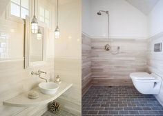 European Wetroom by lisa kauffman tharp (photos 2 and 3 of Kauffman Tharp's unexpected mix of materials proves that ADA accessibility can still be beautiful. Photos by Fine Homebuilding magazine and Jerome Eno. Ada Bathroom, Attic Bathroom, Wet Rooms, Cool Rooms, Fine Homebuilding Magazine, Wall Mounted Vanity, Barn Lighting, Lisa, Custom Cabinetry