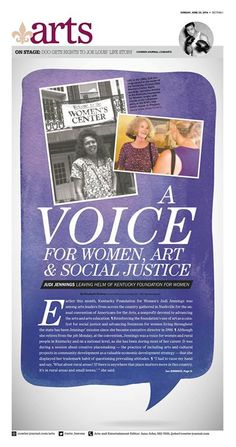 """A Voice for Women, Art & Social Justice"" Louisville Courier-Journal Arts designed by Andrea Brunty. (06.29.14)"