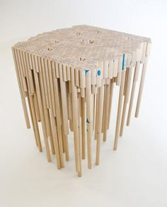 Dowel Table  Table made from 60ft of dowels.