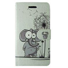 cartoon olifant en paardebloem patroon pu lederen flip case met magnetische snap en kaartslot voor iPhone 5 / 5s – EUR € 6.85