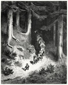And here and there along the track Dropping a pebble to guide him back.  Gustave Doré, from Fairy realm, told in verse by Tom Hood, London, 1866.  (Source: archive.org)