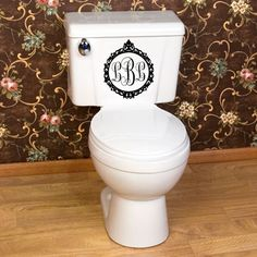 Monogram Vinyl Wall Art Bathroom Toilet Decal by designstudiosigns, $25.00