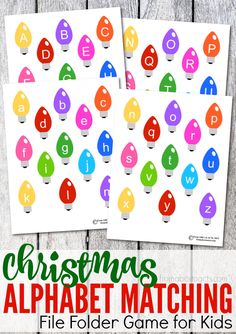 Practice the letters of the alphabet while celebrating the holidays with this fun, printable Christmas themed alphabet matching file folder game! File Folder Activities, File Folder Games, Christmas Activities For Kids, Preschool Christmas, Alphabet Activities, File Folders, Preschool Winter, Preschool Alphabet, Christmas Games