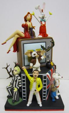 My 80's themed cake for Baking Award 2012, with Jessica & Roger Rabbit, Freddie Mercury, Danger Mouse, Beetle Juice, Gizmo...
