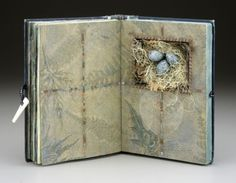 Sharon McCartney artists book  In Quest of Treasure - Mixed Media Altered Vintage Book with Niche