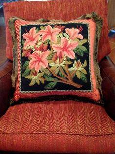 Beautiful finishing on this Elizabeth Bradley needlepoint Azalea pillow