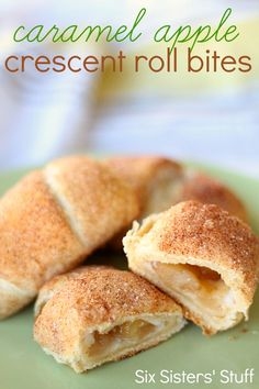 Caramel Apple Crescent Roll Bites from SixSistersStuff.com. Caramel apple filling wrapped in a crescent roll. Makes the perfect fall treat! #recipes #fall #apple #caramel