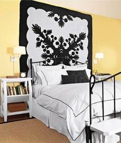 Home Design and Decor , Decorate Your Walls With Quilted Wall Hangings : Quilted Wall Hangings In Bedroom With Metal Bed Frame And Yellow Walls
