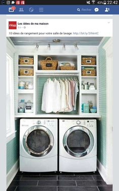 Best 20 Laundry Room Makeovers - Organization and Home Decor Laundry room decor Small laundry room organization Laundry closet ideas Laundry room storage Stackable washer dryer laundry room Small laundry room makeover A Budget Sink Load Clothes Small Laundry Rooms, Extra Storage Space, Laundry Room Organization, Laundry Room Design, Storage Spaces, Organization Ideas, Storage Shelves, Small Shelves, Open Shelving