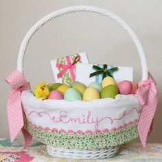 Personalized easter basket liner pink and green gingham easter easter basket liner personalized easter basket girl easter basket fits pottery barn kids baskets small or large leaf negle Images