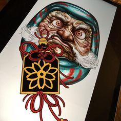 Japanese Mask Tattoo, Japanese Tattoo Designs, Japanese Design, Japanese Art, Daruma Doll Tattoo, Hannya Tattoo, Irezumi Tattoos, Mandala Flower Tattoos, Flower Mandala