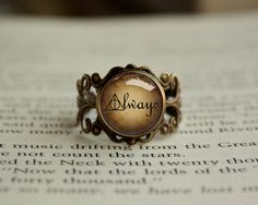Handmade Antique Vintage Style Harry Potter Snape Always Inspired glass cabochon dome Adjustable Ring