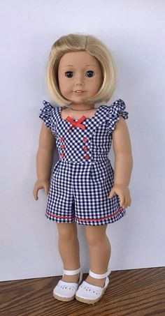 18 doll navy and white gingham romper with red trim Sewing Doll Clothes, Doll Clothes Patterns, Girl Doll Clothes, Girl Dolls, Doll Patterns, American Girl Crafts, American Doll Clothes, Baby Dress Patterns, Kids Wear